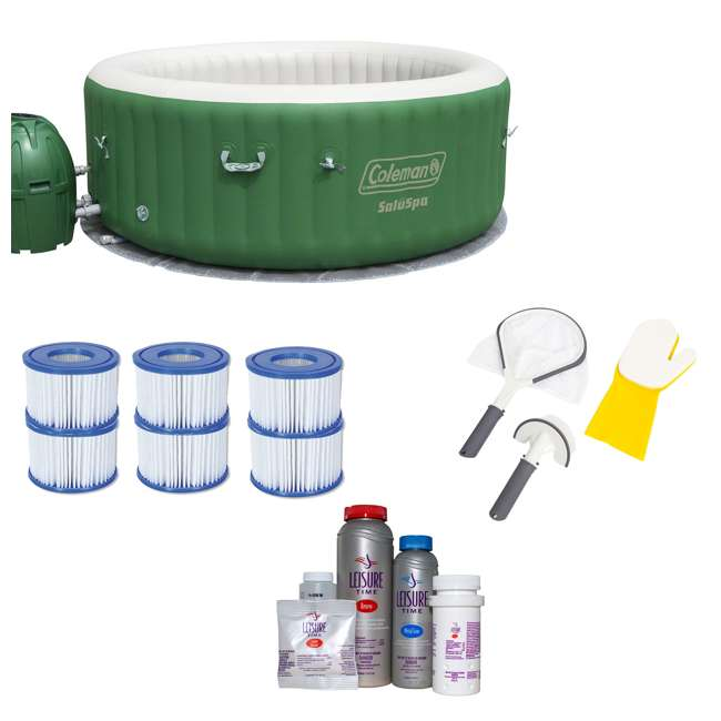 90363E-BW + 3 x 90352E-BW + 58421-BW + 45521A Coleman SaluSpa 6 Person Spa with 3 Filters + 2 Cleaning Kits