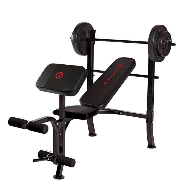 MKB-2081-U-C Marcy Pro Home Gym Standard Weight Bench w/ 80 LB Weight Set, Black (For Parts)