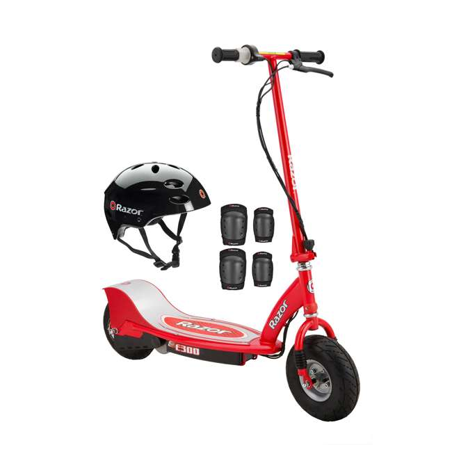 Razor E300 Electric Scooter (Red) with Helmet, Elbow and Knee Pads