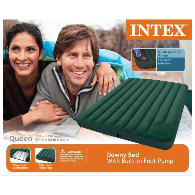 66929E-U-A Intex Queen Downy Air Bed Camping Mattress w/ Pump 66929E (Open Box) (2 Pack) 7