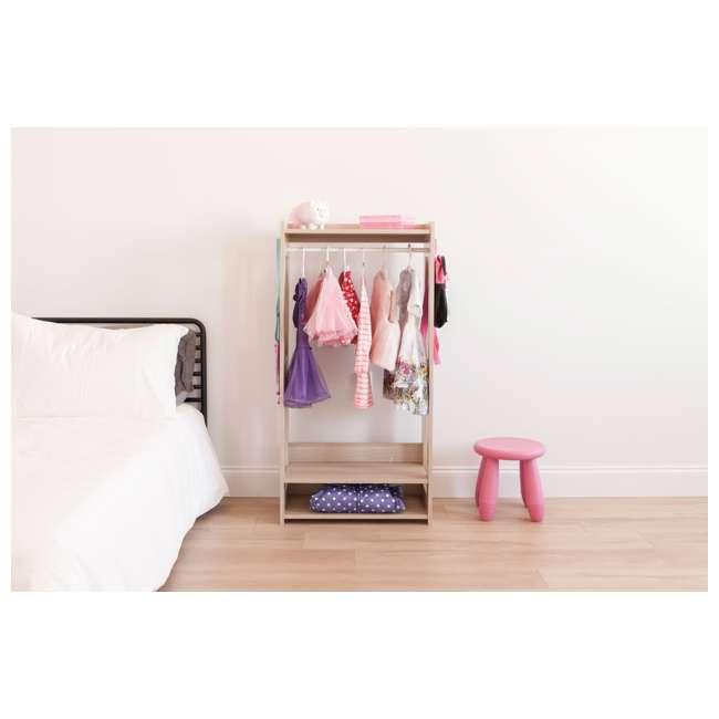 596285 IRIS 2 Shelf Compact Wood Garment Hanging Closet Clothing Clothes Rack, Brown 4