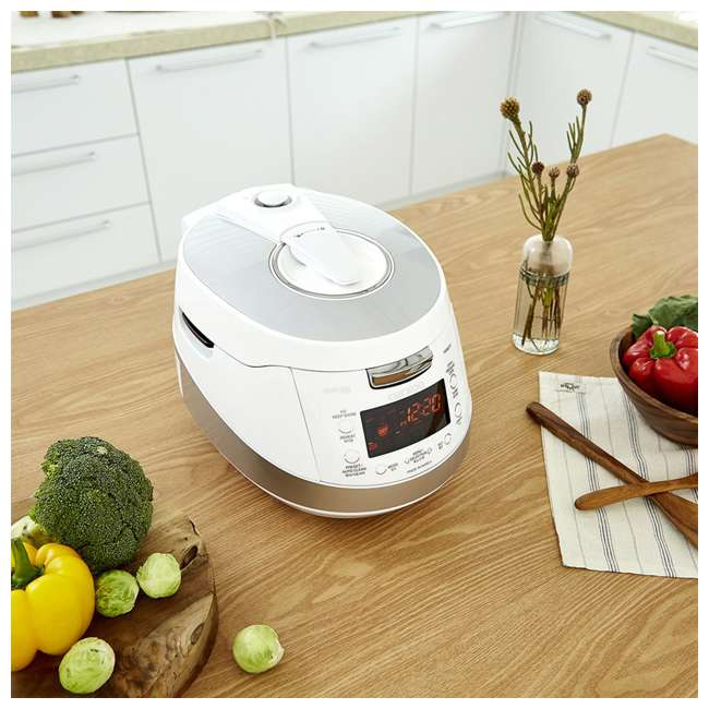 CRP-HS0657FW Cuckoo Electronics Stainless Steel 6 Cup Electric Pressure Rice Cooker, White 2