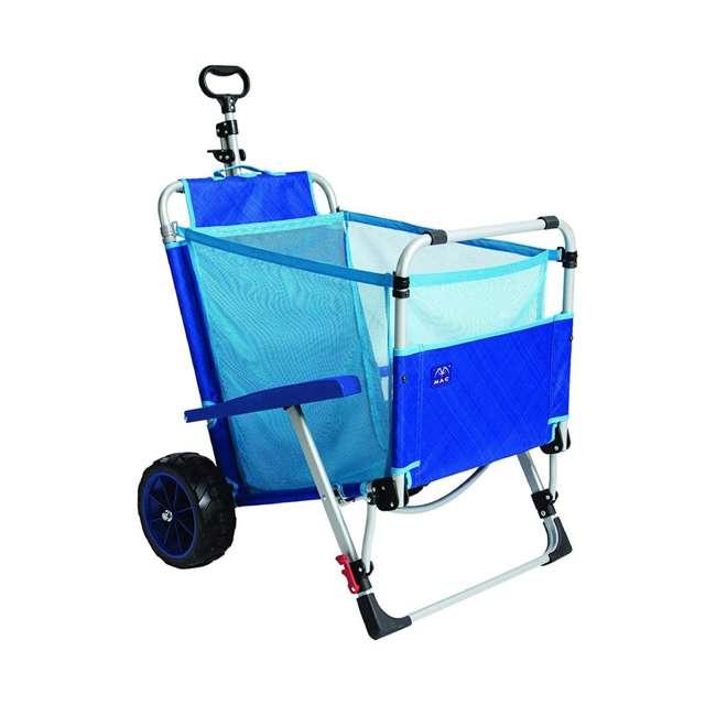 MAC-BD-200 Mac Sport 2-in-1 Beach Day Folding Lounger Chair & Wagon Cart w/ Lock, Blue 3