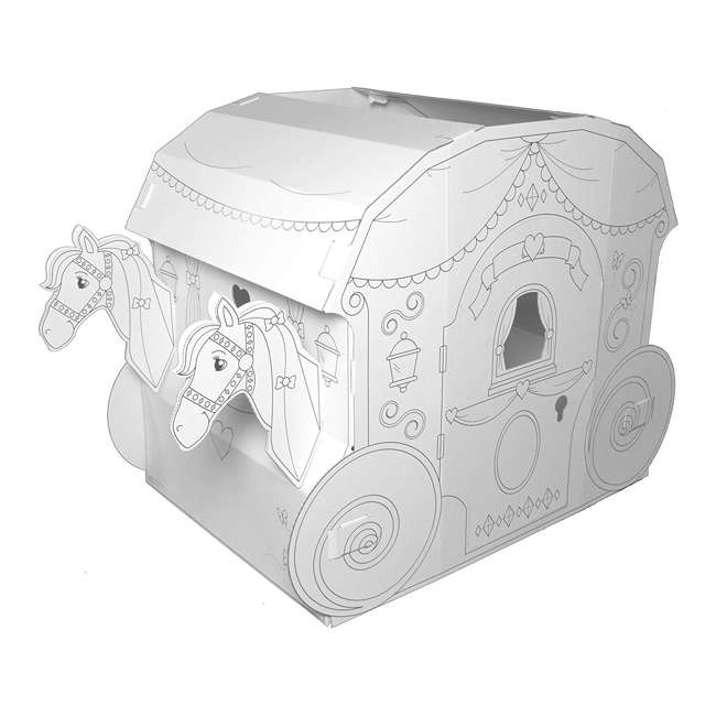 PC5536R My Very Own House Life-Size Coloring Playhouse Princess Carriage w/ 8 Markers