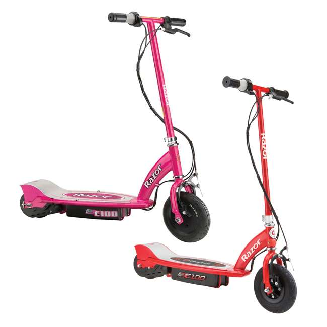 13111260 + 13111261 Razor E100 Kids 24 Volt Electric Powered Ride On Scooter, Red & Pink (2 Pack)