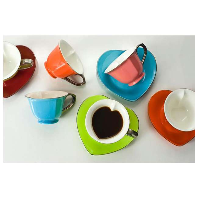 CC169 Inside Out Heart 6.5 Ounce Cups and Saucers, (Set of 6) 1