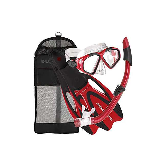 SR259O0601S U.S. Divers Cozumel Snorkeling Set with Small Fins, Mask, Snorkel, and Bag, Red