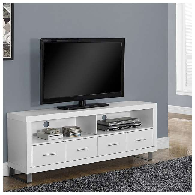 VM-2518 Monarch Contemporary Entertainment Center TV Stand w/ Storage, White (2 Pack) 2