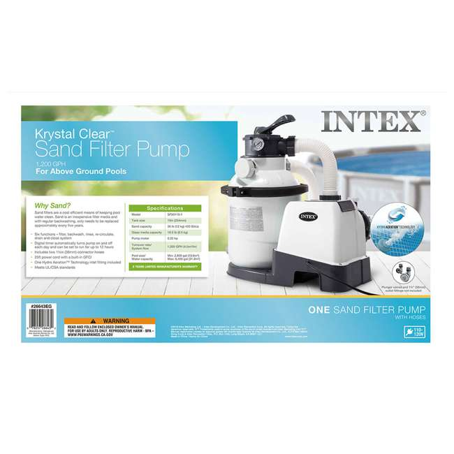I26643 Intex 1200 GPH Above Ground Pool Sand Filter Pump w/ Automatic Timer (Brown Box) 5