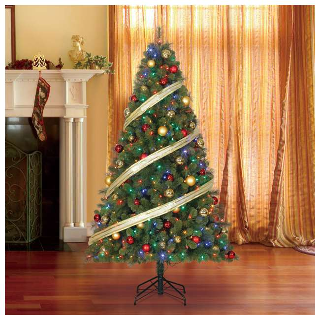 TG70M3W92D00 + GX1623U22F23 Home Heritage 7 Foot Artificial Cascade Pine Christmas Tree with Rotating Stand 4