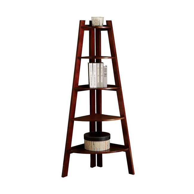 IDF-AC6214CH Furniture of America Lyss Contemporary 5 Tier Wooden Corner Ladder Shelf, Cherry 1
