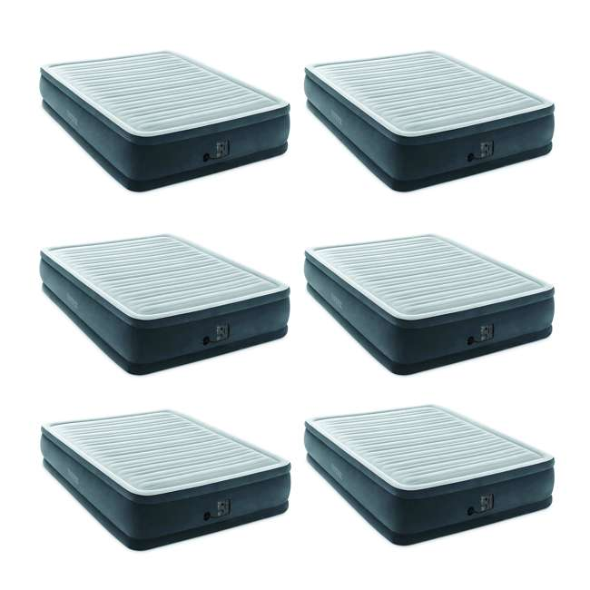 6 x 64413EP Intex Dura-Beam Plus Elevated Airbed with Built-In Pump, Queen (6 Pack)