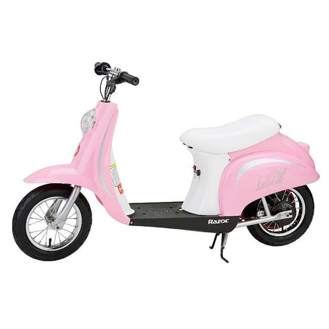 15130608 + 15130610 Razor Pocket Mod Miniature Euro 24V Electric Retro Scooter 2-Pack, Pink & White 2