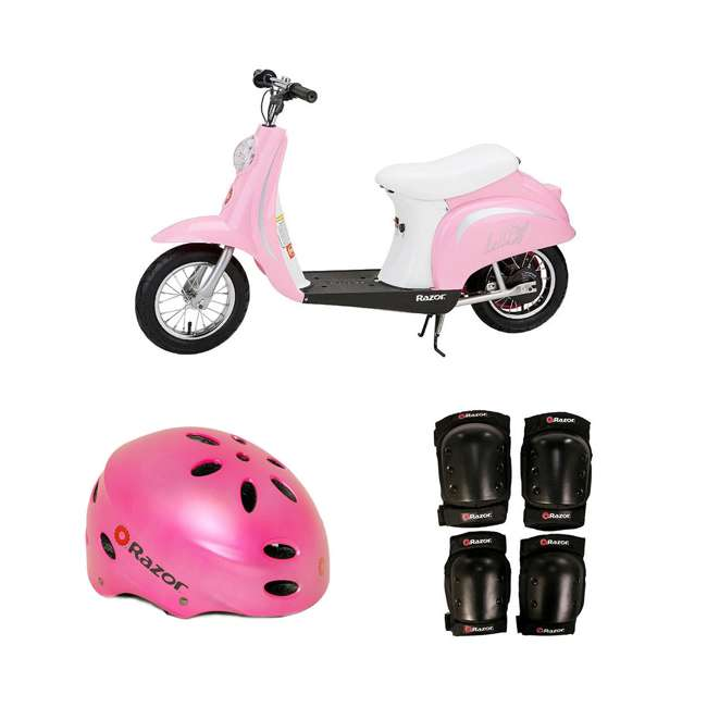 15130610 + 97783 + 96785 Razor Pocket Mod Electric Retro Scooter + Youth Sport Helmet + Elbow & Knee Pads