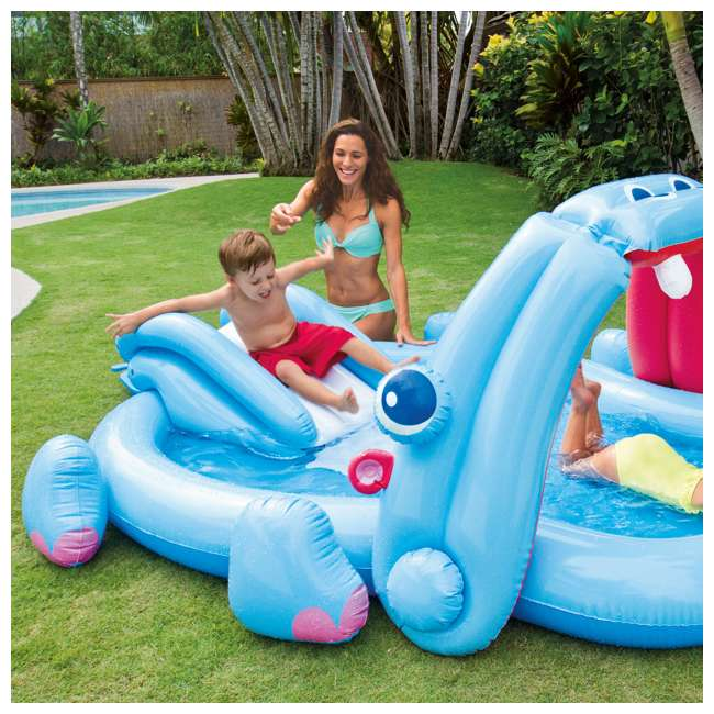 57150EP Intex 87in x 74in x 34in Inflatable Hippo Play Kids Pool Slide And Sprayer(Used) 1