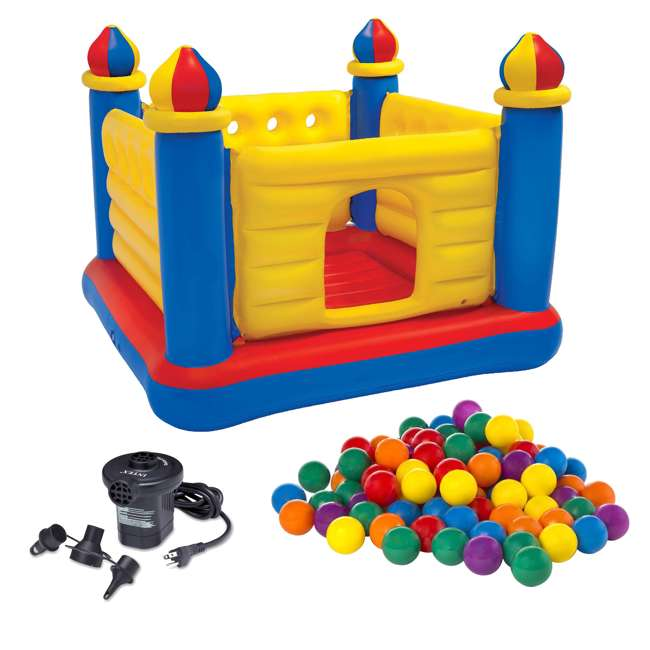48259EP + 66619E + 49600EP Intex Inflatable Jump-O-Lene Ball Pit Castle Bouncer with Air Pump & Plastic Balls