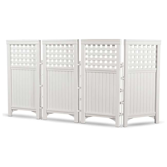 3 x FS4423D-U-B Suncast Garden Yard 4 Panel Screen Enclosure Gated Fence, White (Used) (3 Pack)