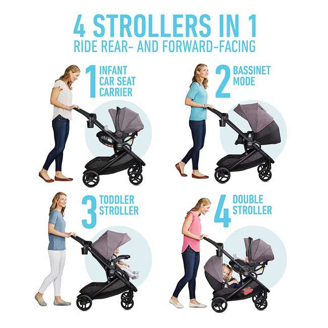 2080526 Graco Modes2Grow Baby Stroller & SnugRide Infant Car Seat Travel System, Kinley 3