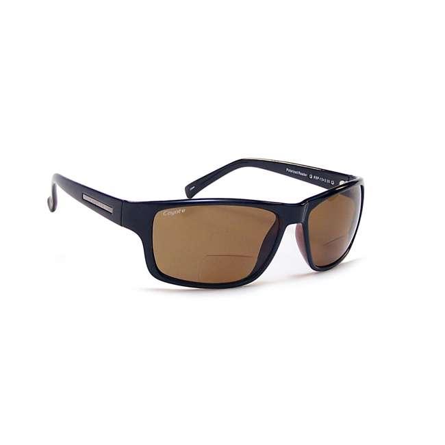 BP-13 +2.00 black/brown Coyote Eyewear BP-13 +2.00 Polarized Reader Premium Sunglasses, Black & Brown