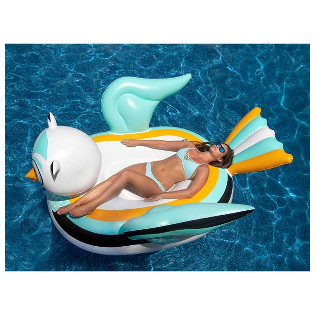 SL-90721M + SL-90719M Giant Ride able Owl Inflatable Float Bundled w/ Inflatable Ride On Swan Float 3