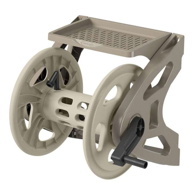 WMS200 Suncast Handler 200 Ft Resin Wall Mounted Outdoor Garden Hose Reel, Taupe (Used)