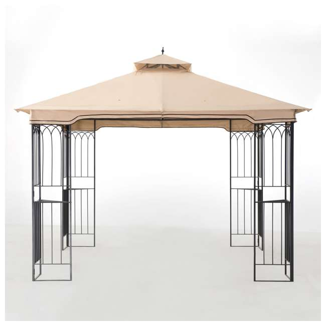 110101009 Sunjoy 10 x 10 Foot Backyard Outdoor Fence AIM Gazebo Canopy, Beige 7