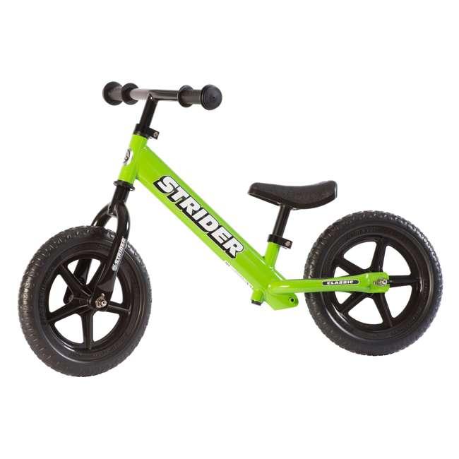 ST-M4GN + PSKISET-12-BK Strider 12 Classic Balance Kids 18 - 36 Months Bike, Green + Strider Snow Ski Set  1