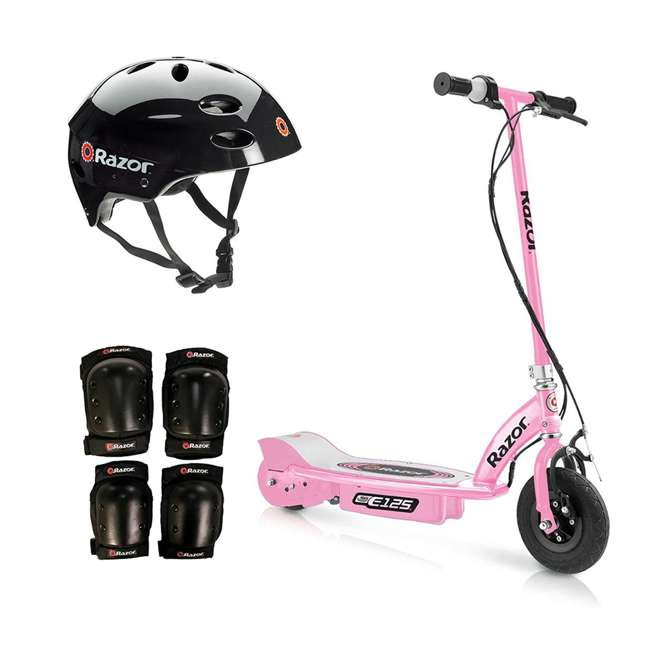 13111163 + 97778 + 96784 Razor Motorized Rechargeable Pink Electric Scooter w/ Black Helmet & Safety Set