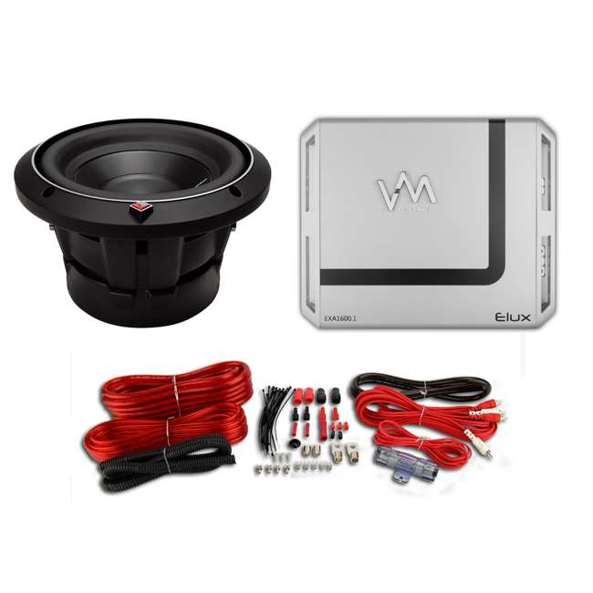 Rockford Fosgate P2D4-8 8-Inch Punch P2 4-Ohm Dvc Subwoofer with Box with  1600W Amp with Wiring