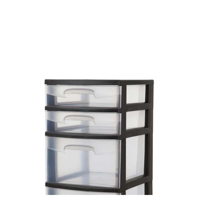 8 x 28959002-U-A Sterilite 5 Drawer Tower Plastic Storage Organizer, Black (Open Box) (8 Pack) 2