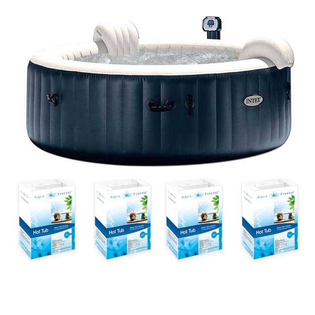28409E + 4 x 956500 Intex Pure Spa Inflatable 6-Person Hot Tub w/ AquaFinesse Cleaning Kit (4 Pack)