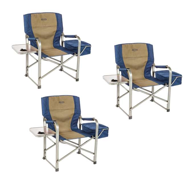 3 x CC118 Kamp-Rite Folding Director's Chair w/ Side Table & Cooler (3 Pack)