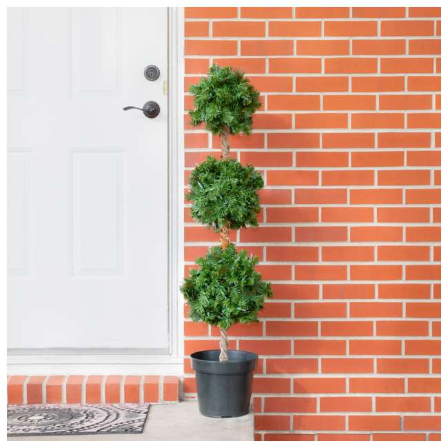 TP40M2W72C09 Home Heritage 4 Foot Artificial Topiary Tree w/ Clear Lights for Entryway Decor 4