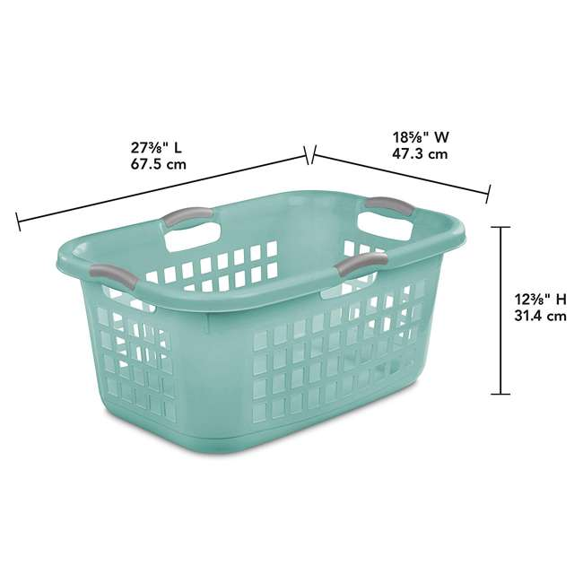 6 x 12167906 Sterilite Ultra 2 Bushel Plastic Stackable Clothes Laundry Basket Bin, Aqua (6 Pack) 2