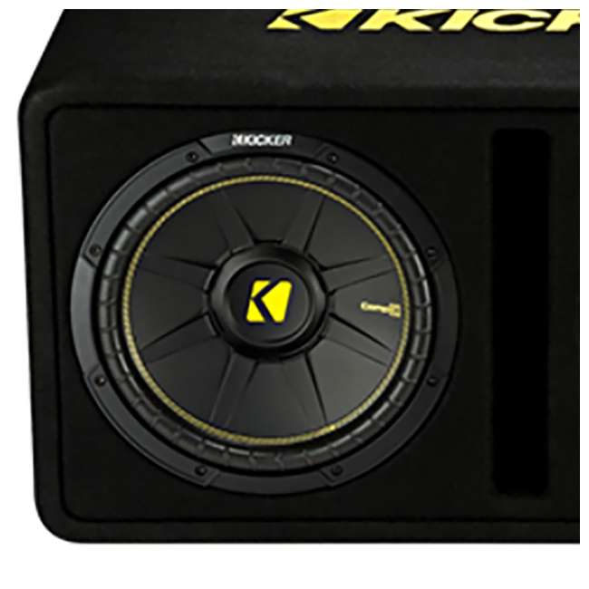 44DCWC122 + AR1500M + 4GAMPKIT-SFLEX Kicker 44DCWC122 12-Inch 1200W Subwoofer Enclosure with Mono Amplifier Amp 2