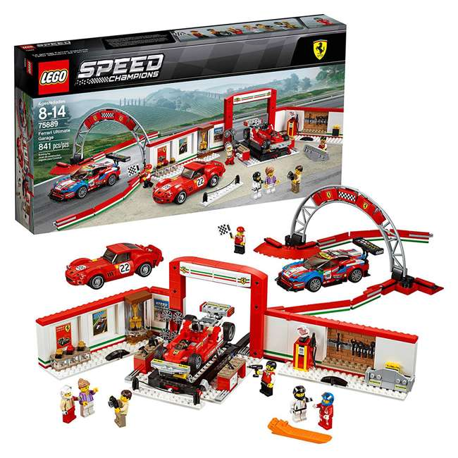 6212629 LEGO Speed Champions 841 Piece Ferrari Ultimate Garage Building Kit for Kids