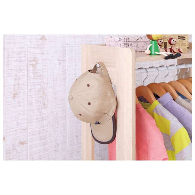 596285 IRIS 2 Shelf Compact Wood Garment Hanging Closet Clothing Clothes Rack, Brown 5