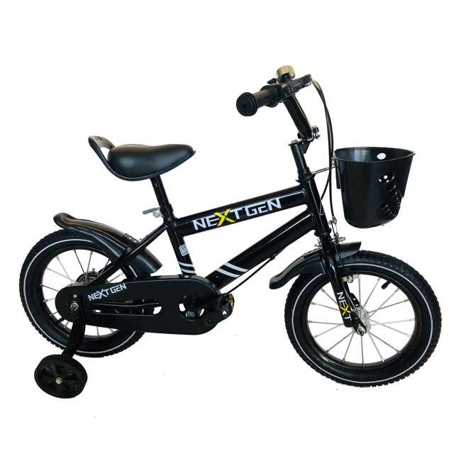 14BK-BLK NextGen 14 Inch Childrens Kids Bike Bicycle with Training Wheels & Basket, Black 1