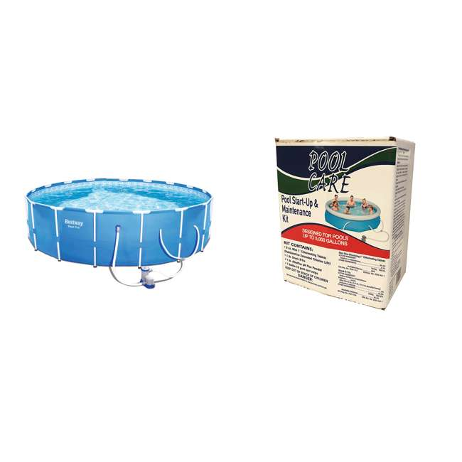 56417E-BW + QLC-42001 Bestway 12' x 12' Above Ground Pool w/ Pump + Qualco Pool Chemical Cleaning Kit