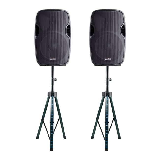 AS-08P + 2 x STL100 Gemini AS-08P Portable Powered PA Loudspeaker (Pair) w/ LED Tripod Stand (Pair)
