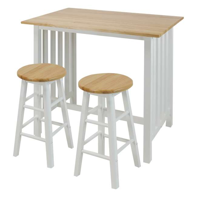 124-91 Casual Home 3 Piece Solid Wood Pub Style Breakfast Lunch Cart Island Set, White