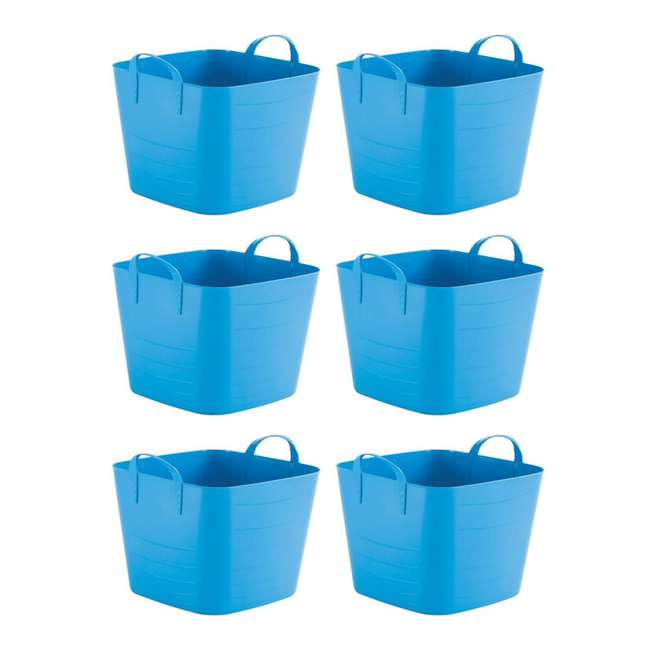 6 x Tub 25L Life Story 25 Liter 6.6 Gallon Durable Plastic Storage Tote, Blue (6 Pack)