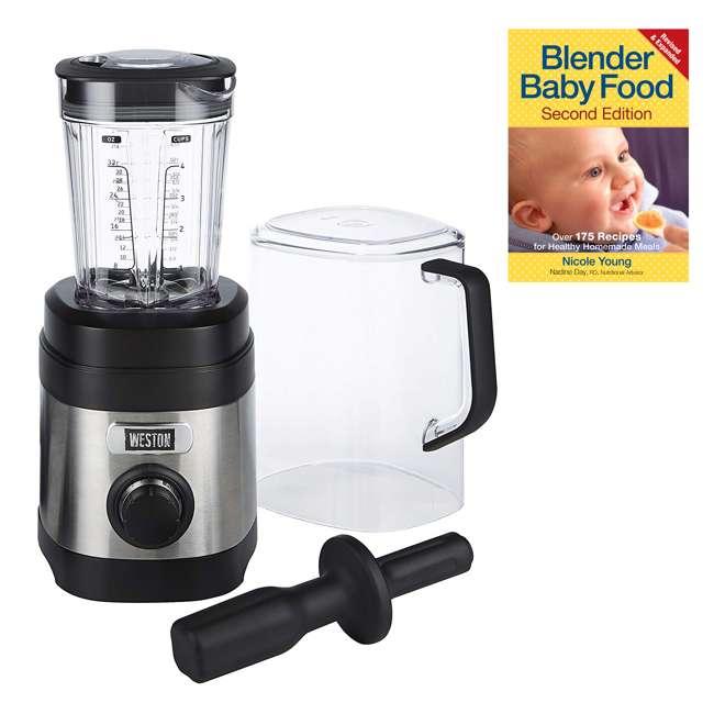 58917 + BABYFOODBLEND Weston 58917 32 Oz Dishwasher Safe Kitchen Blender & 175 Baby Food Recipe Book