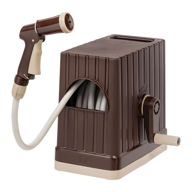 588516 IRIS USA 588516 49.21 Foot Rectangular Retractable Hose Reel with Nozzle, Brown