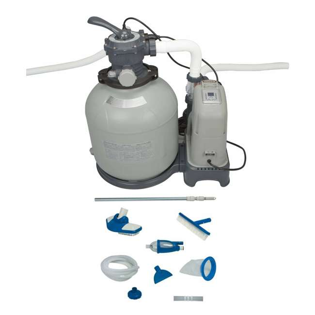 28679EG + 28003E Intex 2650 Gph Saltwater System & Sand Filter Pump Set w/ Deluxe Maintenance Kit
