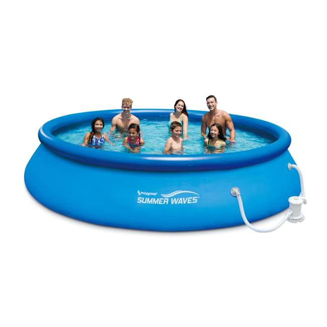 Summer waves 15 foot quick set inflatable ring pool with - Inflatable quick set swimming pool ...