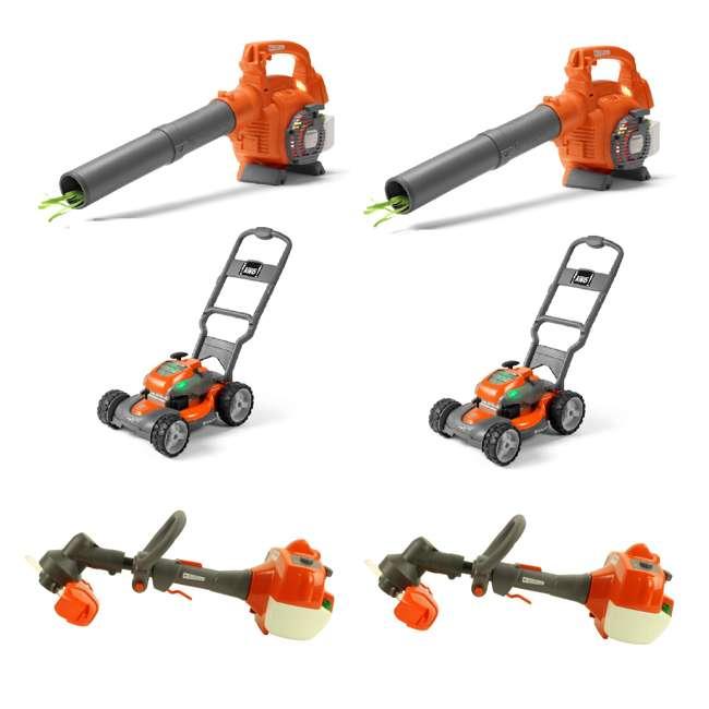 HV-TOY-589746401 + 2 x HV-TOY-589289601 + 2 x HV-T Husqvarna Kids Toddler Toy Battery Lawn Leaf Blower(2), Mower (2) & Trimmer (2)