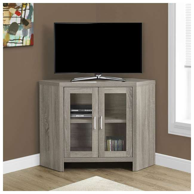 VM-2701 Monarch Specialties Modern Corner Television Stand with Glass Doors, Dark Taupe  1
