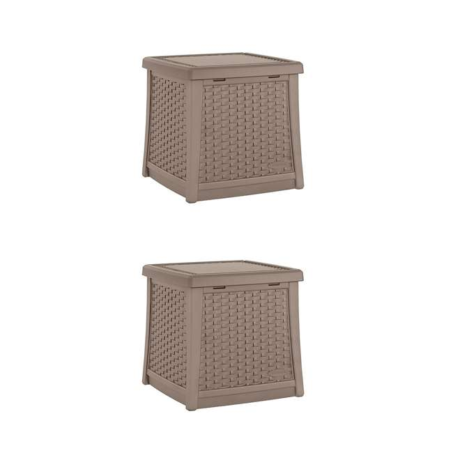 BMDB1310DT Suncast Square Resin End Table, Dark Taupe (2 Pack)