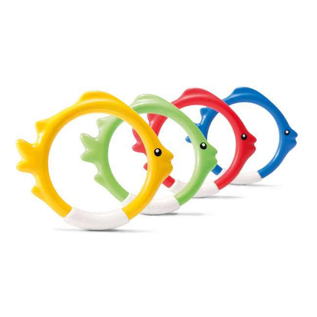 55507E Intex Diving Pool Kids Toy Play Underwater Fish Rings Sticks, 4 Pack (Open Box)